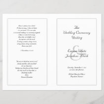 White Catholic Wedding Ceremony Program