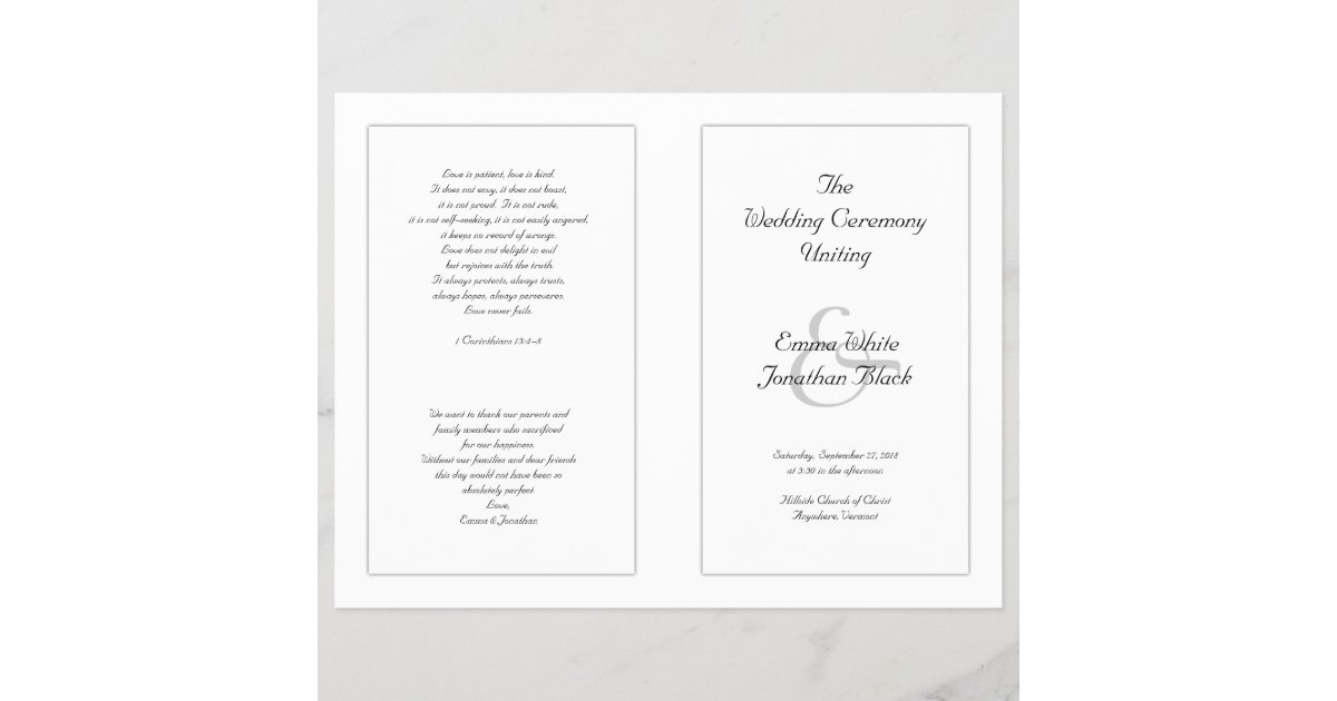 Catholic Wedding Program.White Catholic Wedding Ceremony Program Zazzle Com