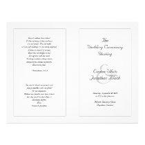 White Catholic Wedding Ceremony Program Flyer