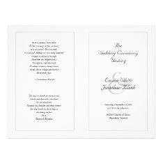 White Catholic Wedding Ceremony Program Flyer at Zazzle