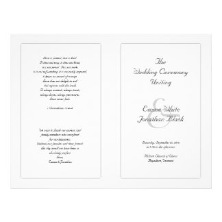 White Catholic Wedding Ceremony Program Flyer