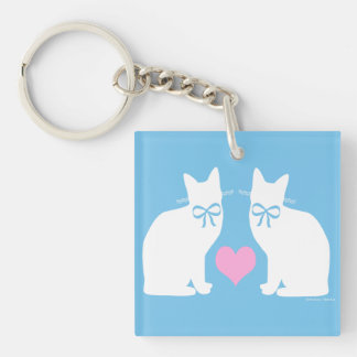 """""""White Cats On Blue"""" Keychain"""