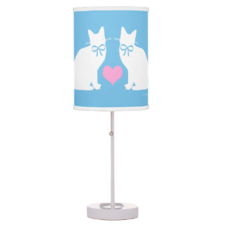 """""""White Cats On Blue"""" Table Lamp"""