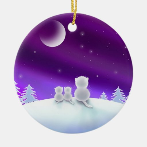 White Cats on Snow Hill Holiday Ornament