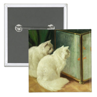 White Cats Watching Goldfish Button