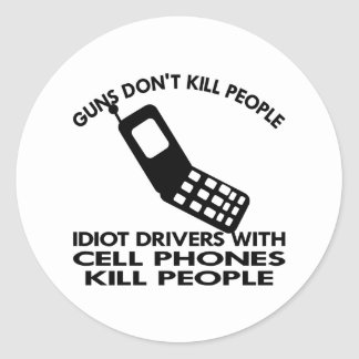White Cell Phones Kill People Classic Round Sticker
