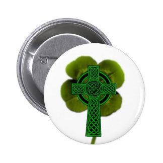 white celtic clover pinback button