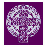 White Celtic Cross print