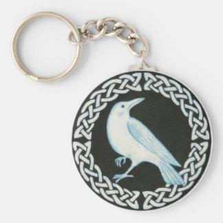 white celtic crow basic round button keychain