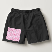 White Celtic Love Knots on Pink Boxers