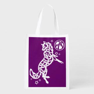 White Celtic Tribal Fantasy Wolf on Purple Reusable Grocery Bag