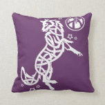 White Celtic Tribal Fantasy Wolf on Purple Throw Pillow