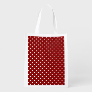 White center Small White Polka dots red background Reusable Grocery Bag
