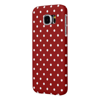White center Small White Polka dots red background Samsung Galaxy S6 Case