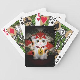 White Ceramic Maneki Neko Bicycle Playing Cards