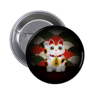 White Ceramic Maneki Neko Pinback Buttons