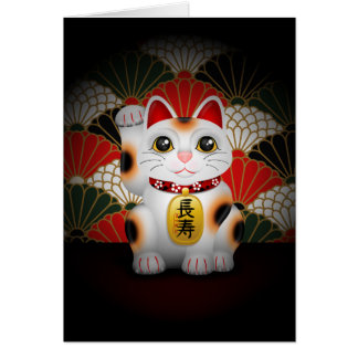 White Ceramic Maneki Neko Greeting Cards