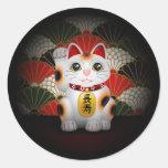 White Ceramic Maneki Neko Classic Round Sticker