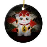 White Ceramic Maneki Neko Double-Sided Ceramic Round Christmas Ornament