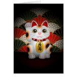 White Ceramic Maneki Neko Greeting Card