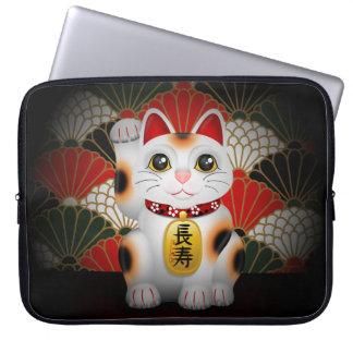 White Ceramic Maneki Neko Laptop Sleeve