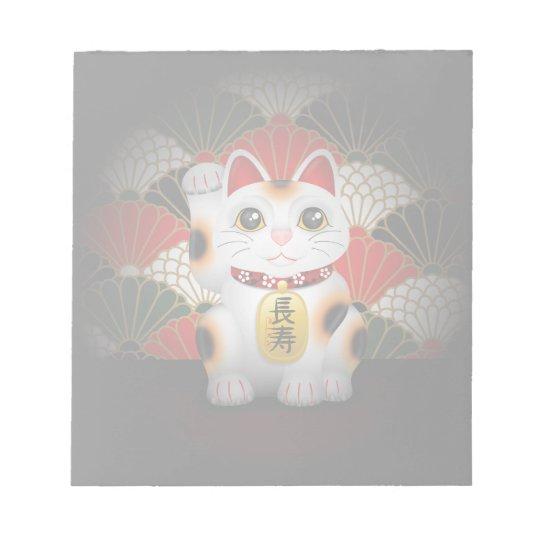 White Ceramic Maneki Neko Notepad