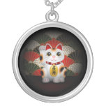White Ceramic Maneki Neko Pendants