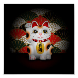 White Ceramic Maneki Neko Poster