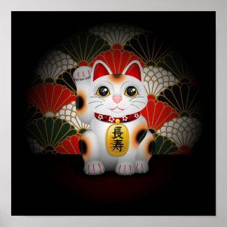 White Ceramic Maneki Neko Posters