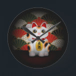 """White Ceramic Maneki Neko Round Clock<br><div class=""""desc"""">A Japanese lucky cat,  illustrated by Megan Anderson. The kanji on the coin represents &quot;longevity&quot;.</div>"""