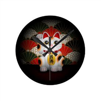 White Ceramic Maneki Neko Round Clock