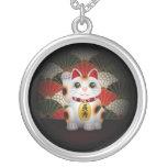White Ceramic Maneki Neko Round Pendant Necklace