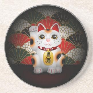 White Ceramic Maneki Neko Sandstone Coaster