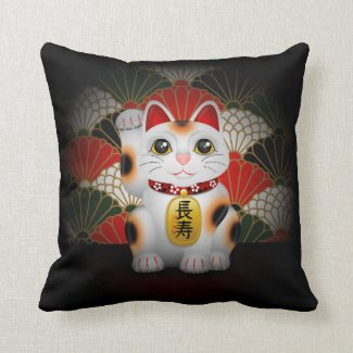 White Ceramic Maneki Neko Throw Pillow