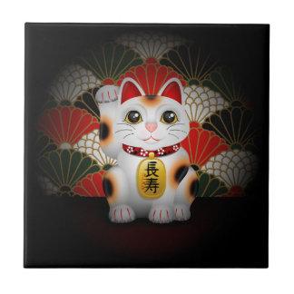 White Ceramic Maneki Neko Tile