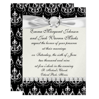 white chadelier on black modern damask design card