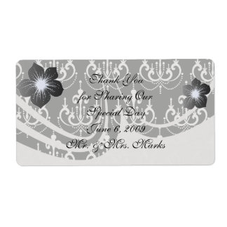 white chadelier on black modern damask design shipping label