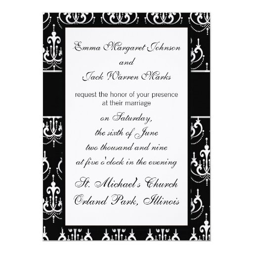 white chadelier on black modern damask invites