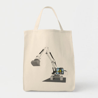 white chain excavator tote bag