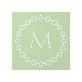 White Chain Link Ring Circle Monogram Gallery Wrap