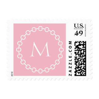 White Chain Link Ring Circle Monogram Postage