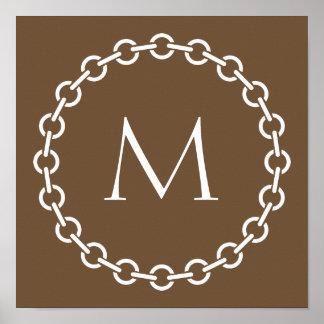 White Chain Link Ring Circle Monogram Poster