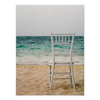 White Chair On The Beach Poster