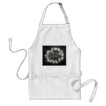 White Chalk Drawn Merry and Bright Holiday Adult Apron