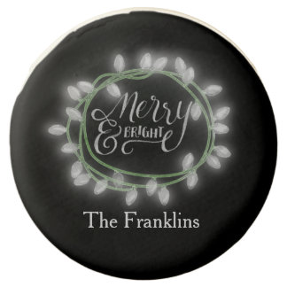 White Chalk Drawn Merry and Bright Holiday Chocolate Dipped Oreo