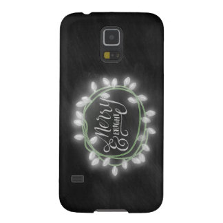 White Chalk Drawn Merry and Bright Holiday Galaxy S5 Cover