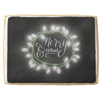 White Chalk Drawn Merry and Bright Holiday Jumbo Shortbread Cookie