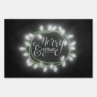 White Chalk Drawn Merry and Bright Holiday Lawn Sign