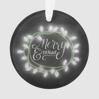White Chalk Drawn Merry and Bright Holiday Ornament