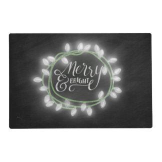White Chalk Drawn Merry and Bright Holiday Placemat